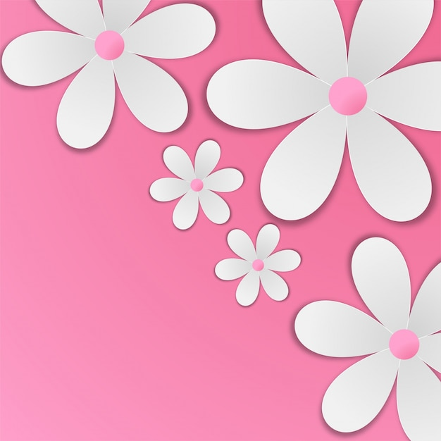 White paper flowers on baby pink background. Premium Vector
