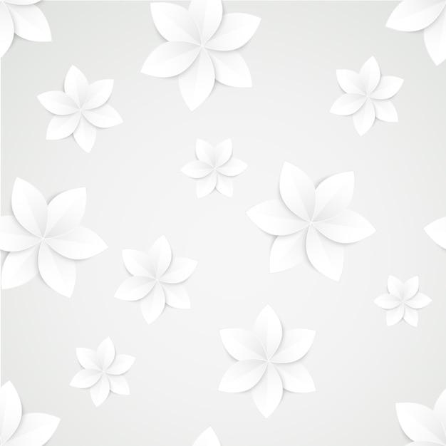 ホワイトペーパーの花のシームレスパターン 無料ベクター