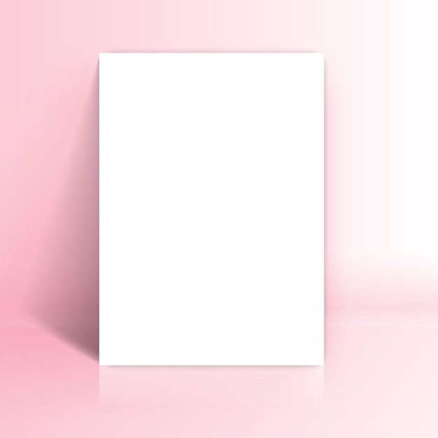 White paper lean at pink studio room Free Vector