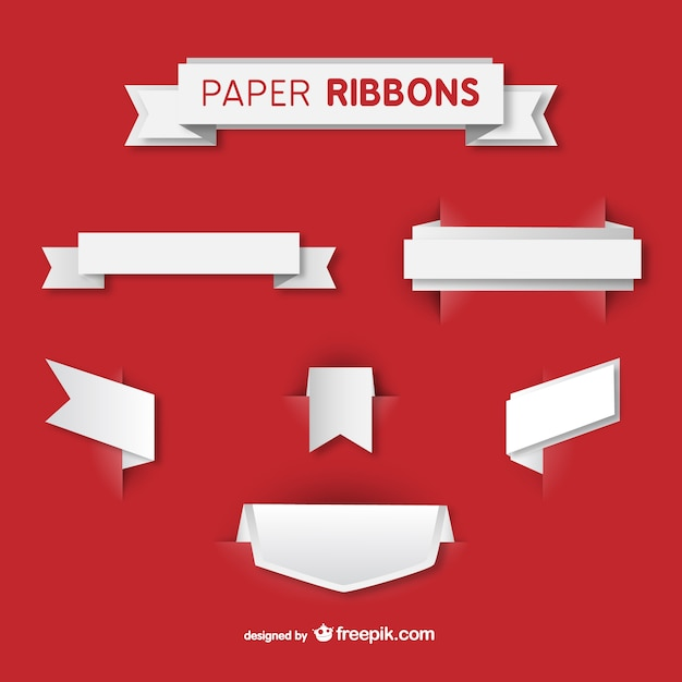 White paper ribbons Free Vector