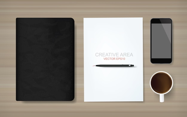 White paper sheet and business object on wood background. Premium Vector