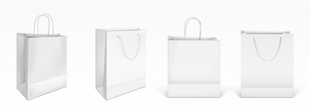 White paper shopping bags Free Vector