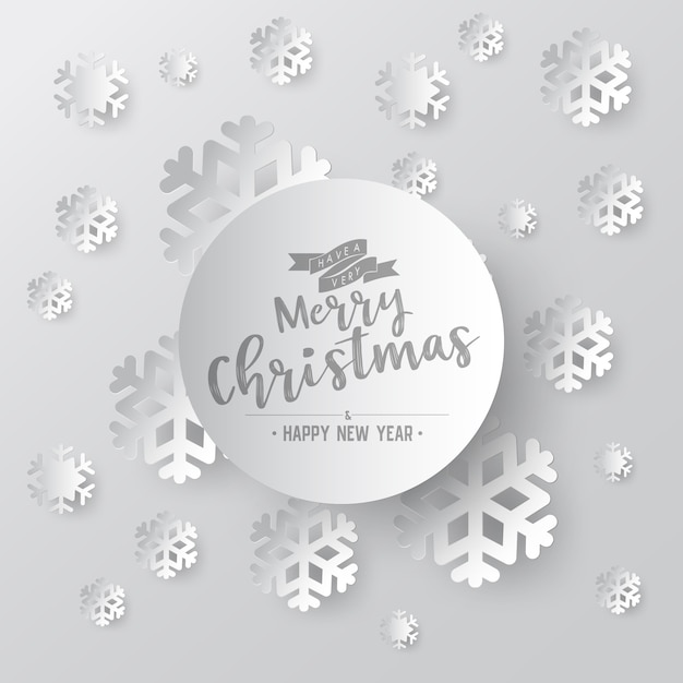 White paper snowflake on white ornate background with merry christmas phase text Premium Vector