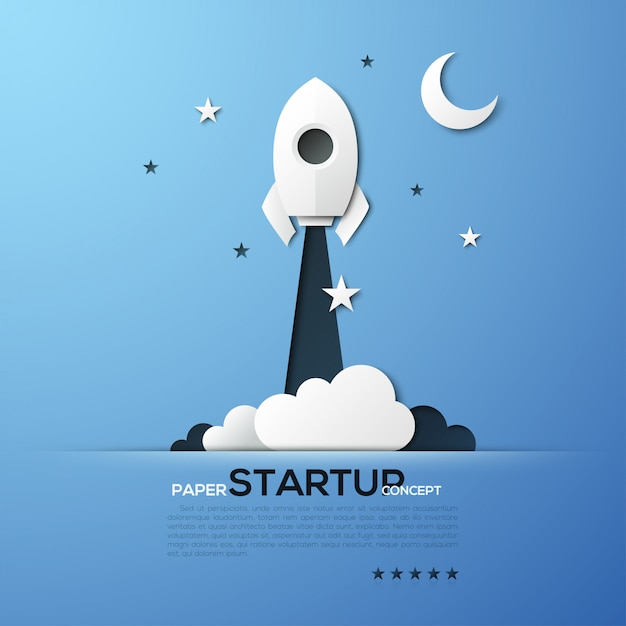 White paper startup rocket concept vector illustration Premium Vector