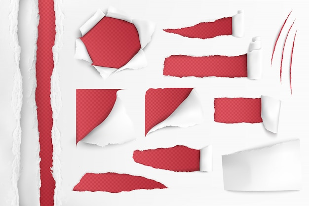 White paper with ripped holes Free Vector
