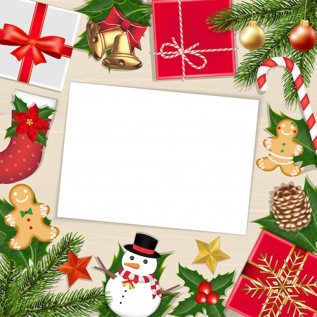 White paper on wood board with chrismas object Premium Vector