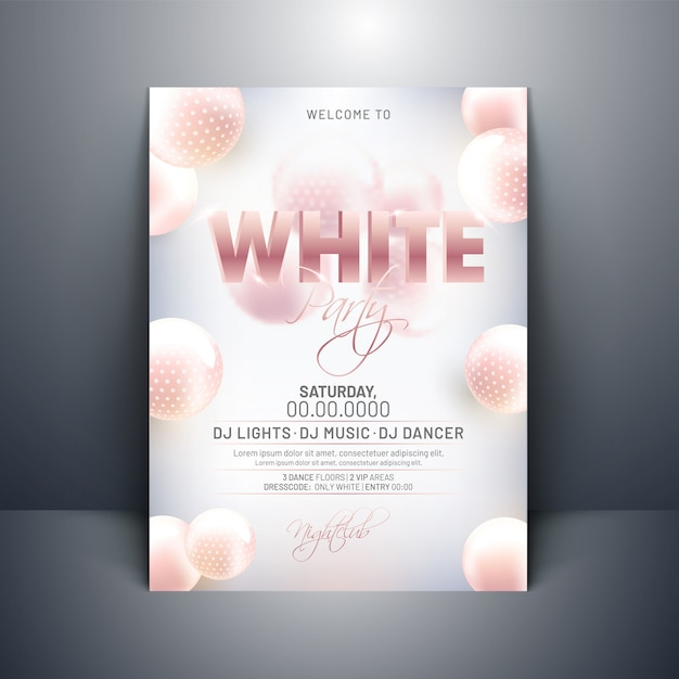 White party invitation card design with 3d abstract spheres on g Premium Vector