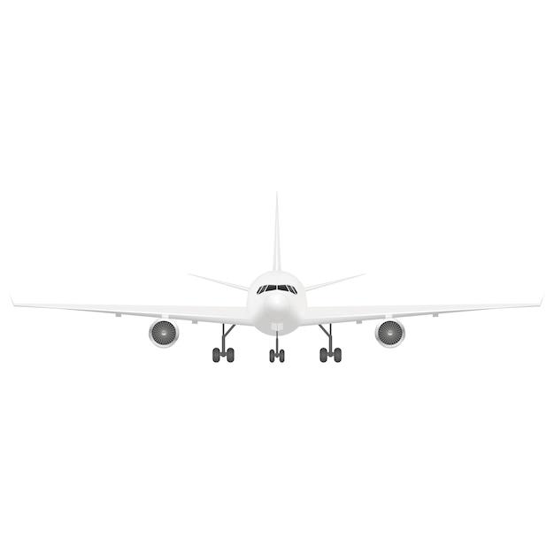 Белый пассажирский самолет. передний план. Premium векторы