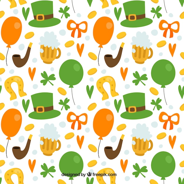 White pattern with hat and elements of saint patrick