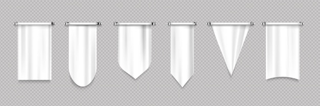 White pennant flags with different shapes Free Vector