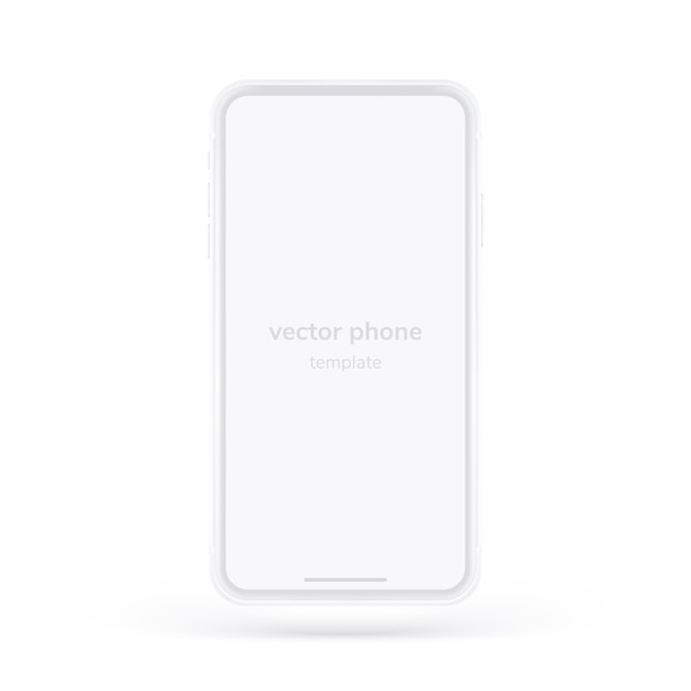 White  phone.  realistic template.  with empty screen for business presentations. Premium Vector