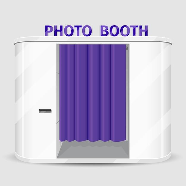 白いプリクラ自動販売機。写真撮影機サービス、キャビンクイックシュート。ベクトルイラスト 無料ベクター
