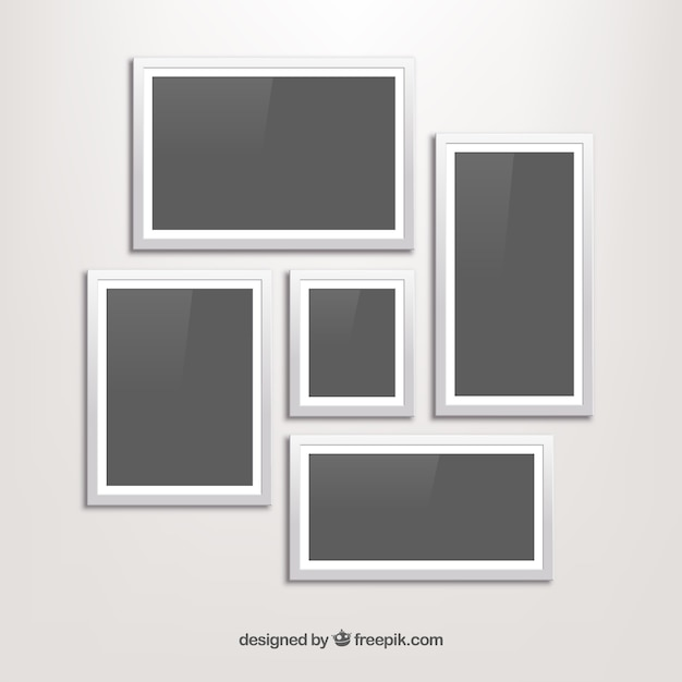 White photo frame collage with flat design Vector | Free Download