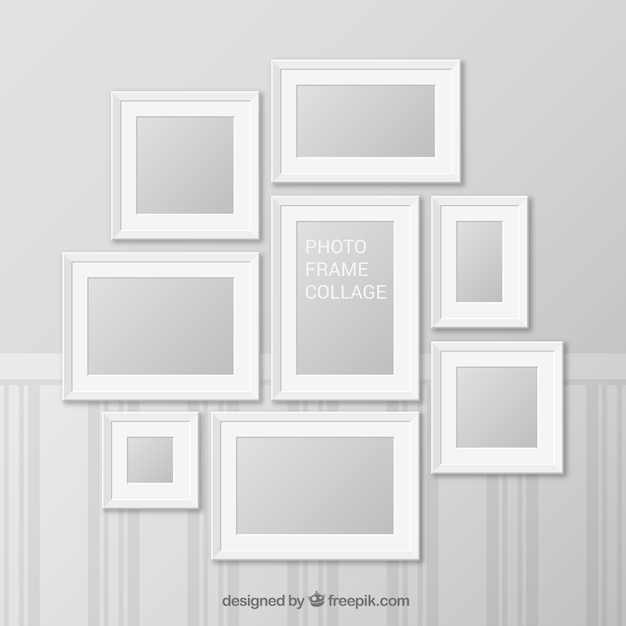 White photo frame collage with realistic design Vector | Free Download