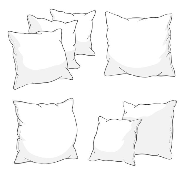 White pillow set Premium Vector