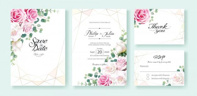 White and pink rose flower wedding invitation card Premium Vector