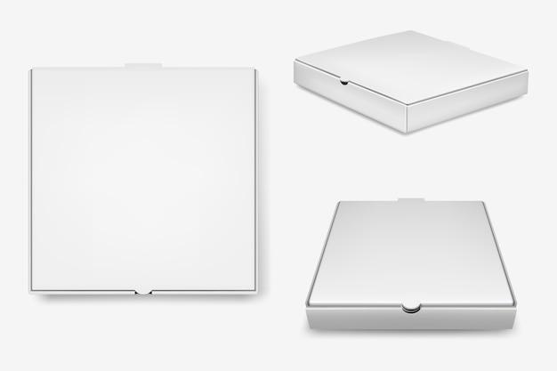 흰색 피자 상자 세트. 프리미엄 벡터