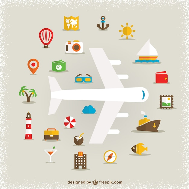 White plane and travel icons Free Vector