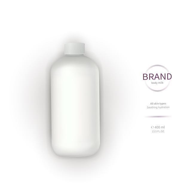 White plastic bottle with dispenser Free Vector