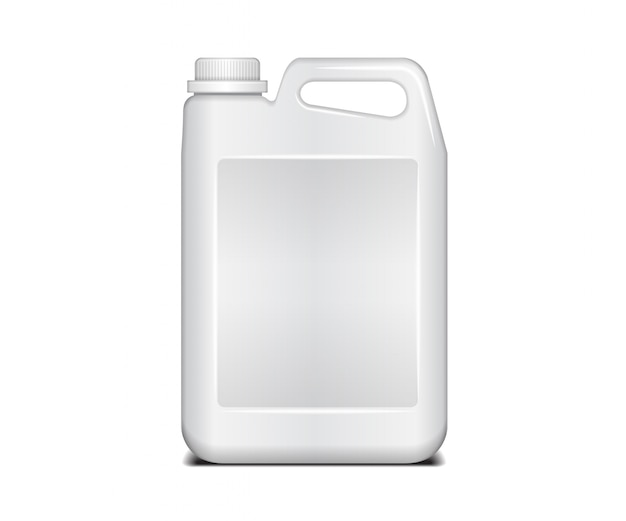白いプラスチック容器。ふた付き液体洗濯洗剤。プラスチック製の白いキャニスター Premiumベクター