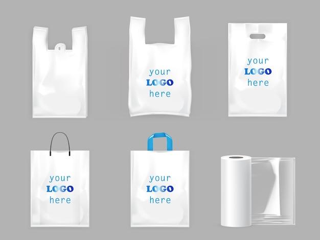 White plastic shopping bags Premium Vector