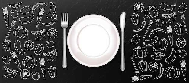 White plate background Premium Vector