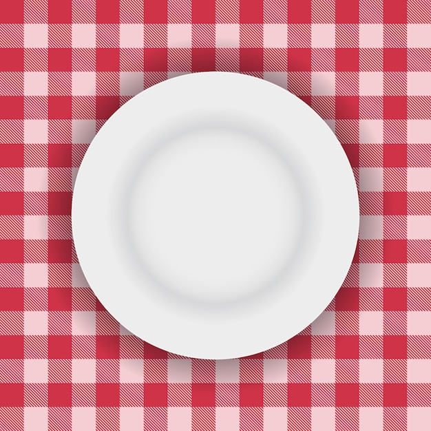 White plate on a picnic table cloth Free Vector