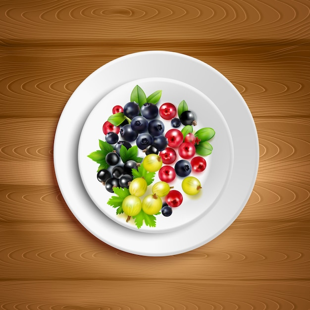 White plate with colorful mix of berry clusters Free Vector