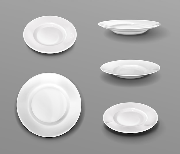 White plates, realistic 3d ceramic dishes top and side view collection Free Vector