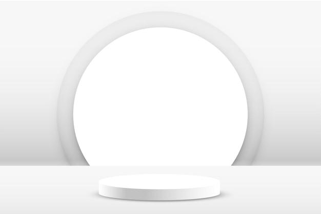 白い表彰台の製品は空の背景を表示します 無料ベクター