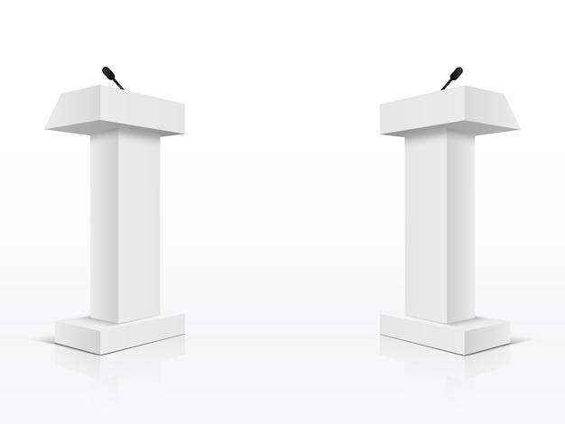 White podium tribune rostrum stands Premium Vector
