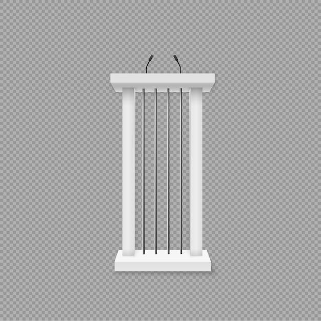 Белый подиум, трибуна с микрофонами. Premium векторы