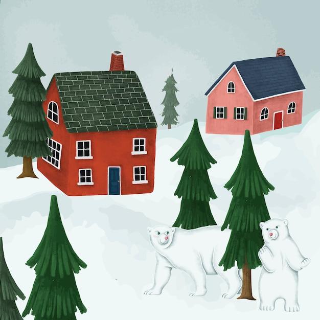 White polar bears in a village Free Vector