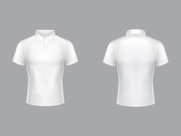 화이트 폴로 셔츠 칼라와 짧은 소매 테니스 티셔츠의 3d 현실적인 그림. 무료 벡터