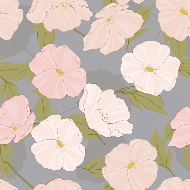 白いケシの複雑なベクトルのシームレスなパターン。レトロな花のイラスト。ケシの優雅さのテクスチャです。ピンクの花のモチーフ。 Premiumベクター
