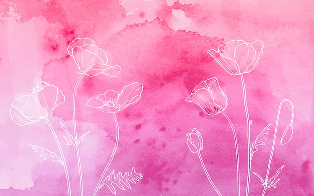 White poppies on watercolor background Free Vector