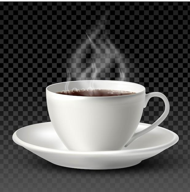 Белая фарфоровая чашка с чаем или кофе внутри и тарелка на белом фоне. Premium векторы