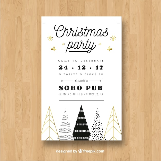 White poster for a christmas party Free Vector