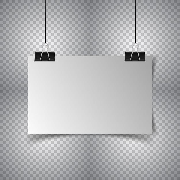 Белый плакат, висящий со связующим Premium векторы