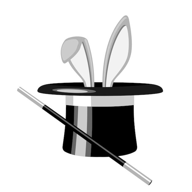白いウサギの耳が白い背景の魔法の帽子から表示されます。図 Premiumベクター