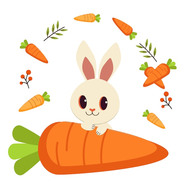 White rabbit and many carrot and leaf. Premium Vector