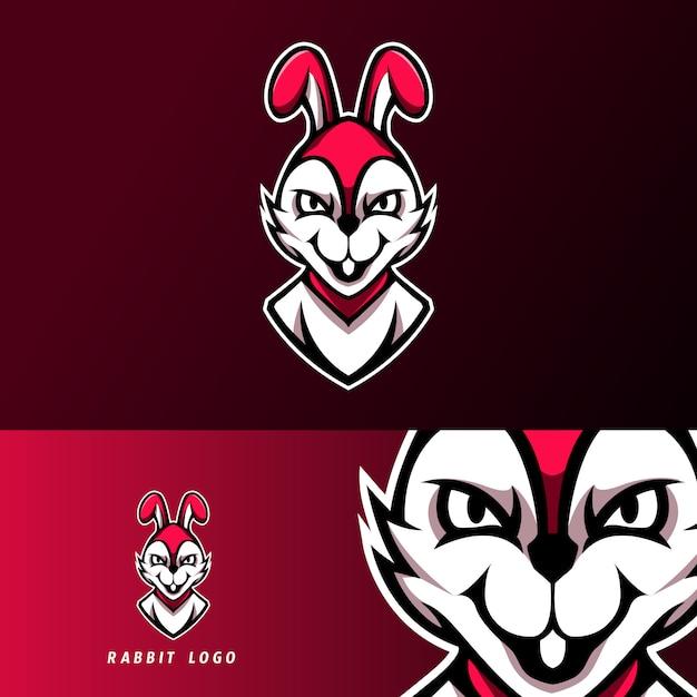 White rabbit mascot sport esport logo template Premium Vector