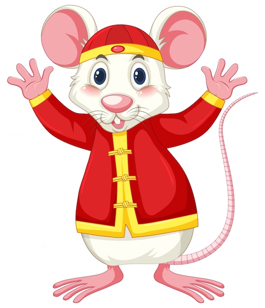 White rat in chinese costume Free Vector