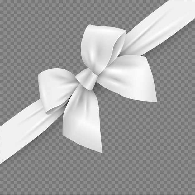 White realistic 3d bow and ribbon with clipping mask Premium Vector