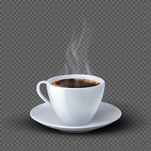 고립 된 연기와 화이트 현실적인 커피 컵 프리미엄 벡터