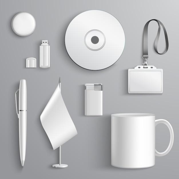 White realistic corporate identity set Free Vector