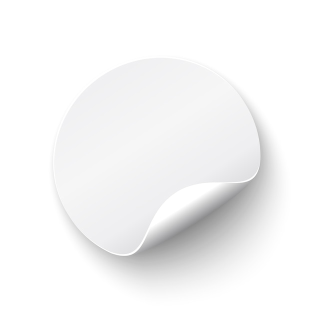 White, realistic curved round banner,  on white background.  illustration. Premium Vector