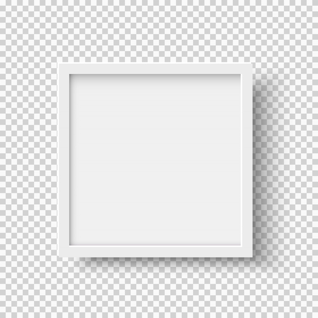 White realistic square empty picture frame on transparent background Premium Vector