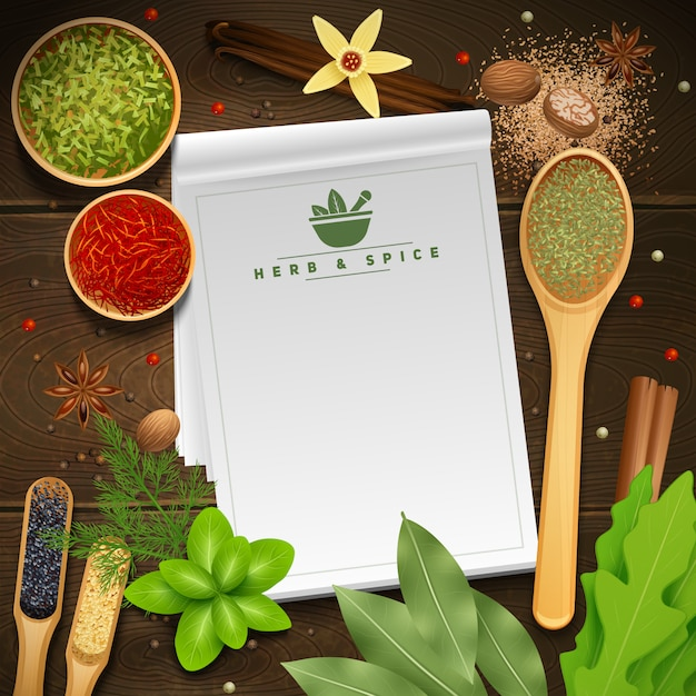 White recipe notepad on wooden background surrounded by various cooking herbs and spices Free Vector