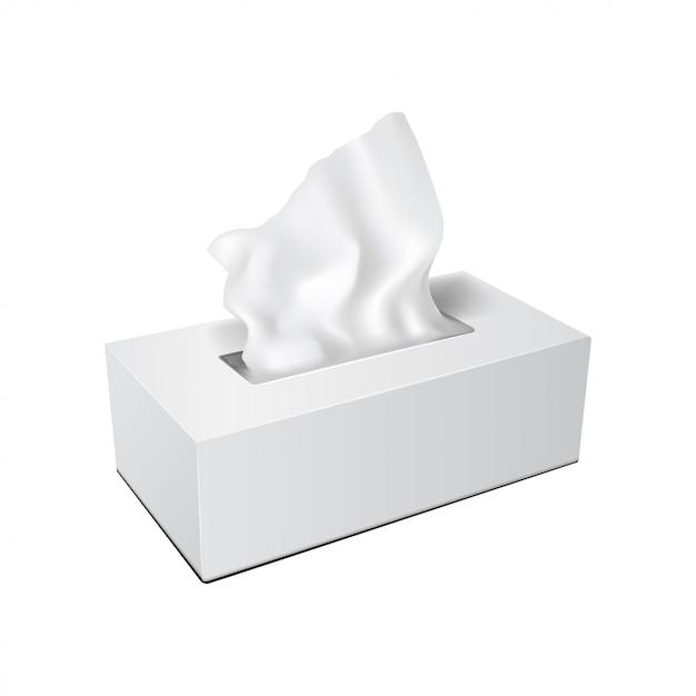 Белая прямоугольная коробка с бумажными салфетками. реалистичная упаковка Premium векторы